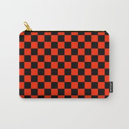Black and Scarlet Red Checkerboard Carry-All Pouch