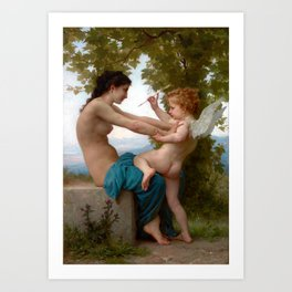 William-Adolphe Bouguereau A Young Girl Defending Herself against Eros Art Print