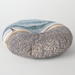 Waves and sand Floor Pillow