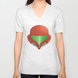 Samus Helmet - Super Metroid white Unisex V-Neck