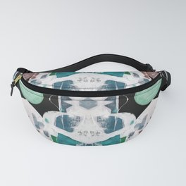 Teal Blue White On Black Abstract Fanny Pack