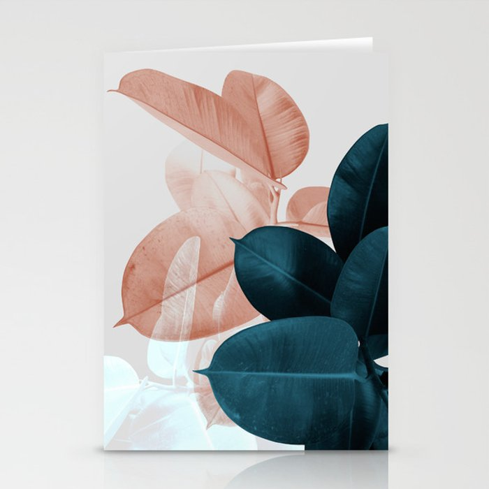 Blush & Blue Leaves Stationery Cards