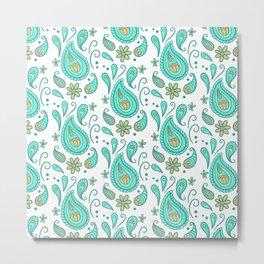 floral leaves mosaic pattern art seamless Metal Print