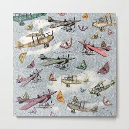 Vintage Sky - Planes and Butterflies Metal Print