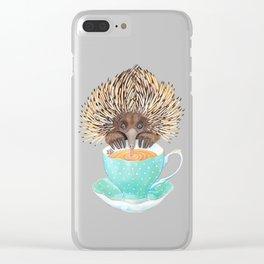 Echidna Drinking Tea Clear iPhone Case
