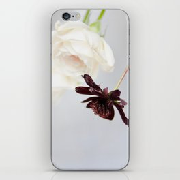white roses and chocolate cosmos iPhone Skin