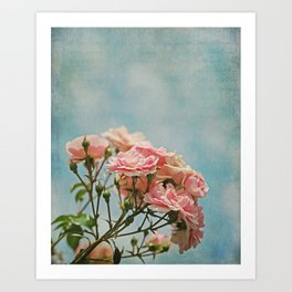 Vintage Inspired Pink Roses in Pastel Blue Sky with French Script Art Print