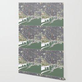 Barcelona city map engraving Wallpaper