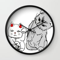 kittens Wall Clocks featuring Kittens by Larice Barbosa