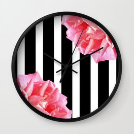 Pink roses on black and white stripes Wall Clock