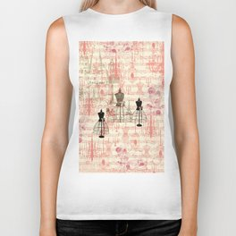 Vintage coral pink mannequin music note collage design Biker Tank