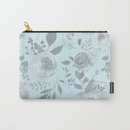light blue and gray floral watercolor print Carry-All Pouch