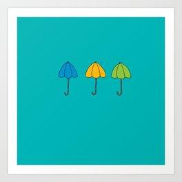 Umbrella Trio Art Print