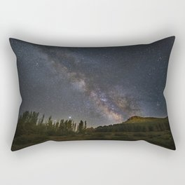 Milky way over mountains and trees. Scorpio, Sagitarius and Jupiter.Sierra Nevada National park Rectangular Pillow