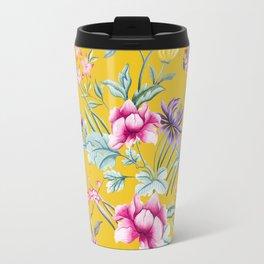 Yellow Chinoiserie Asian Floral Print Travel Mug