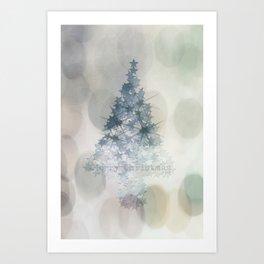 Chistmas Tree Stars & Bubbles Art Print