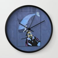 scuba Wall Clocks featuring Scuba diver by Aquamarine Studio