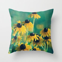 Emerald and Topaz Summer Botanical -- Prairie Coneflower / Mexican Hat Flower Throw Pillow