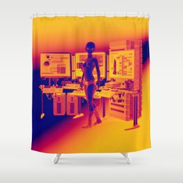 Alien Female Console Station HD Infared Shower Curtain