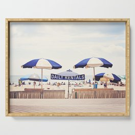 Beach Umbrella Photography, Blue White Brown Coastal Art, Beach Summer Photograph, Seashore Print Serving Tray