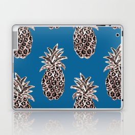 Gold Pineapples on teal Laptop & iPad Skin