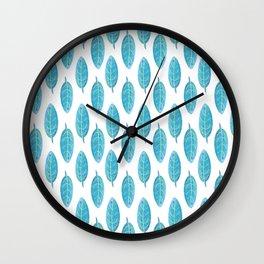 Peacock Blue Leaf Pattern Wall Clock