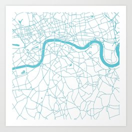 London White on Turquoise Street Map Art Print