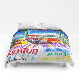 Vintage Menton France Travel Comforters