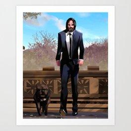 John Wick with bull dog Art Print