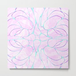 Abstract Mint Pink Flower Pattern Metal Print
