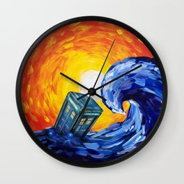 Tardis and a Great Wave Wall Clock