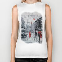 paris Biker Tanks featuring Paris by OLHADARCHUK