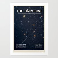 comic Art Prints featuring THE UNIVERSE - Space | Time | Stars | Galaxies | Science | Planets | Past | Love | Design by Mike Gottschalk