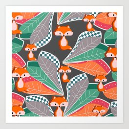 Summer fun with foxes and leaves Art Print