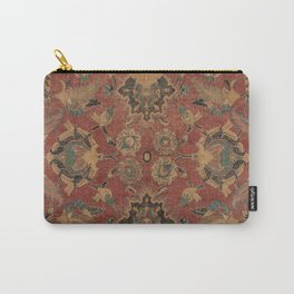 Flowery Boho Rug V // 17th Century Distressed Colorful Red Navy Blue Burlap Tan Ornate Accent Patter Carry-All Pouch