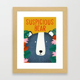 Suspicious bear Framed Art Print