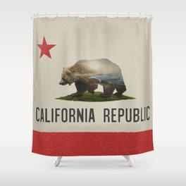 California Grizzly Bear Flag Shower Curtain