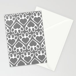 Paw Prints on my Heart - in Grey Stationery Cards