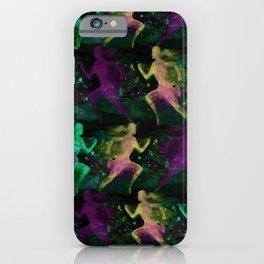 Watercolor women runner pattern on Dark Background iPhone Case