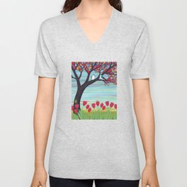 tree swallows in the stained glass tree with tulips and frogs Unisex V-Neck