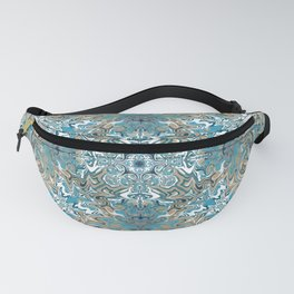 Turquoise Blue and Tan Pattern Fanny Pack