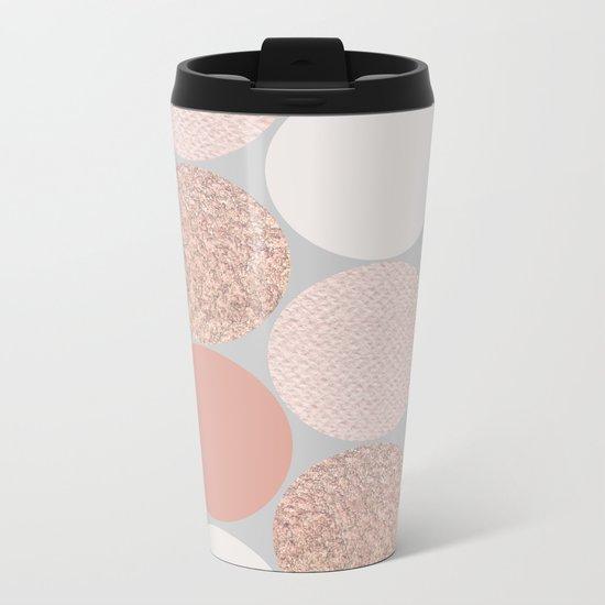 Rose Gold Dots Metal Travel Mug