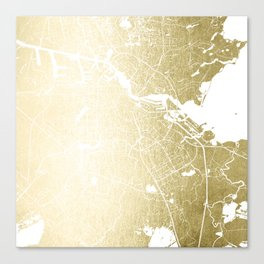 Amsterdam Gold on White Street Map Canvas Print