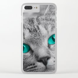 Cat with Piercing Turquoise Eyes Clear iPhone Case