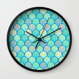 Seashells // Art Deco Shell Fans in blue, teal, turquoise & gold fit for a mermaid! Wall Clock
