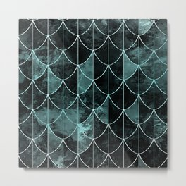 Mermaid scales. Mint and black. Metal Print