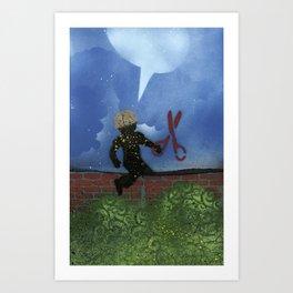 Boy With Scissors Art Print