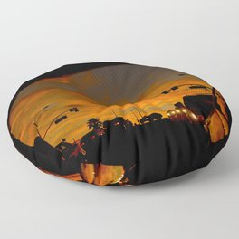 Fiery Red Sunset in Rearview Mirror Floor Pillow