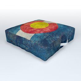 Colorado State flag, Vintage retro style Outdoor Floor Cushion
