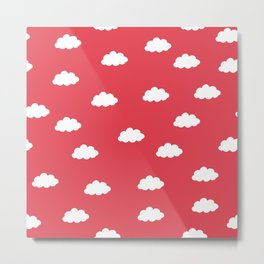 White clouds in red background Metal Print